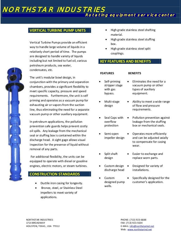 Vertical turbine pump units
