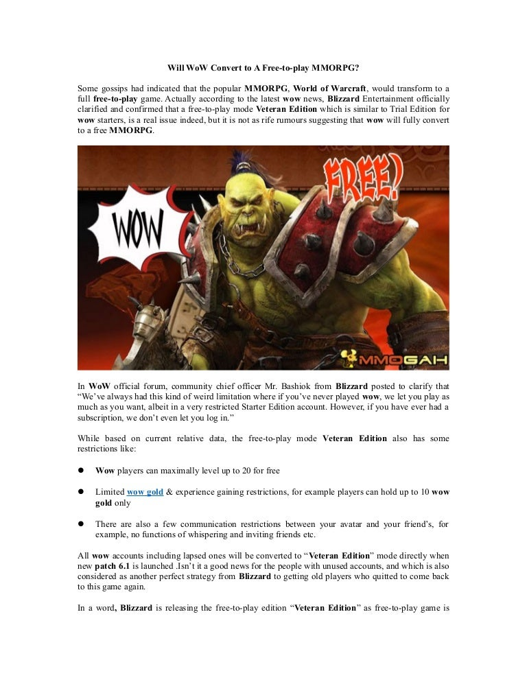 Will WoW Convert to A Free-to-play MMORPG?