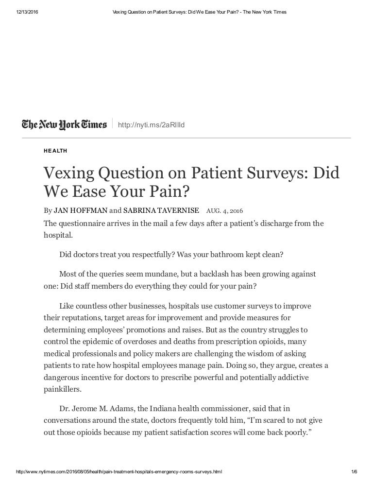 Vexing Question On Patient Surveys Did We Ease Your Pain  The New
