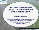 MACHINE LEARNING FOR SATELLITE-GUIDED WATER QUALITY MONITORING