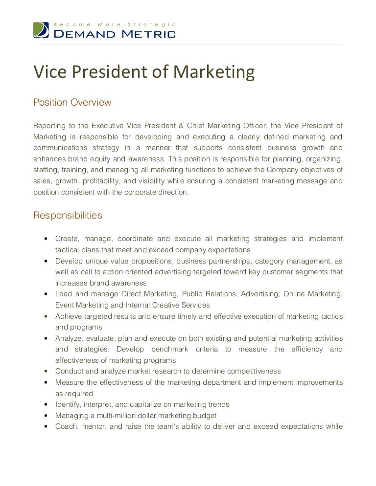 Vice President Of Marketing Job Description