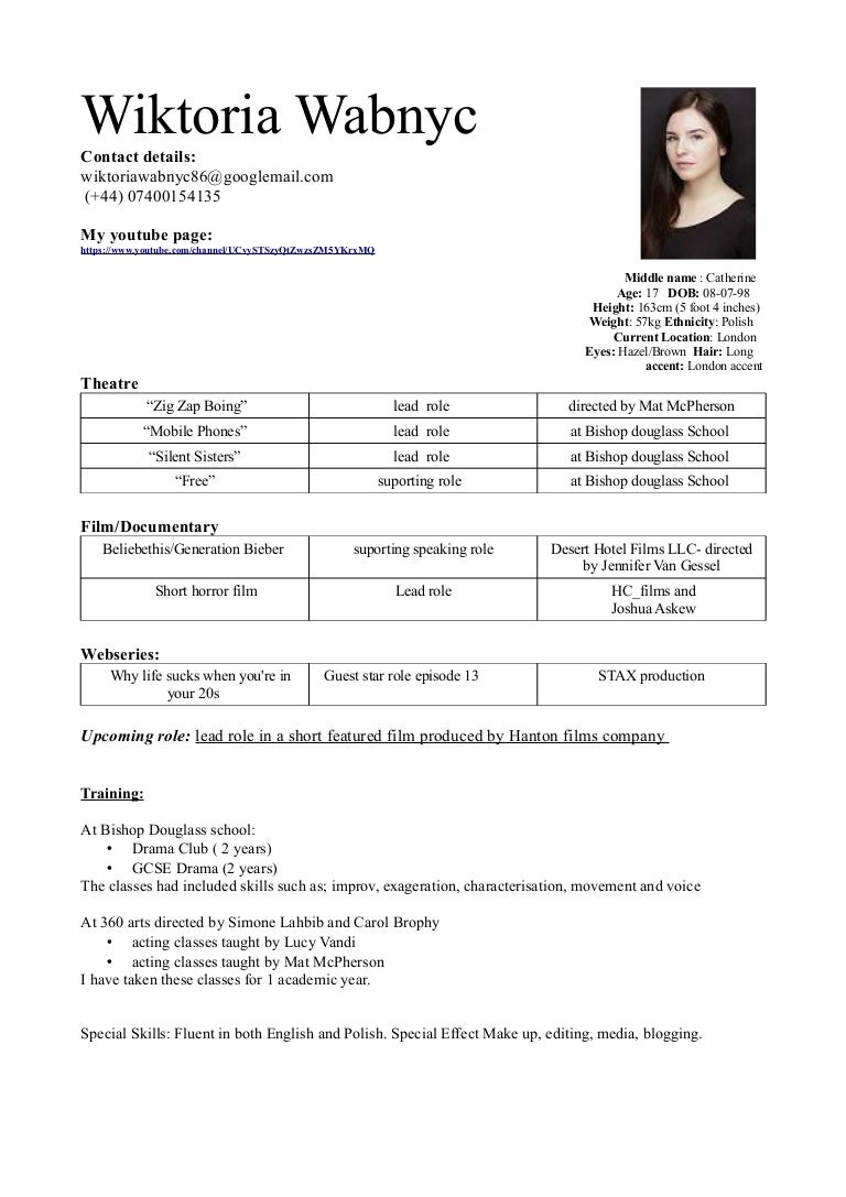 Vicky Acting Resume