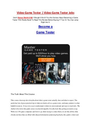 Video Game Tester - Video Game Tester Jobs