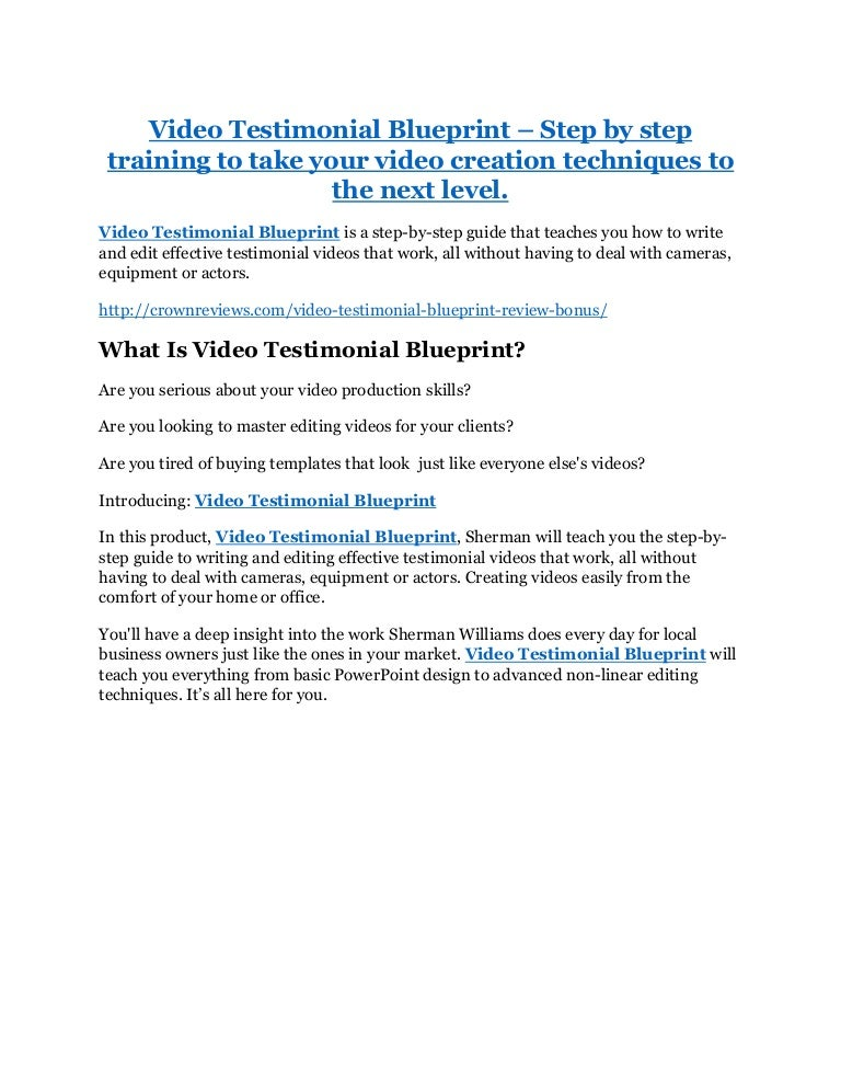 Video testimonial blueprint review and video testimonial blueprint 1 malvernweather Choice Image