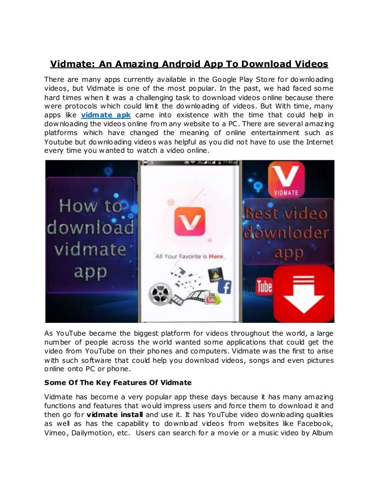 Vidmate an amazing android app to download videos