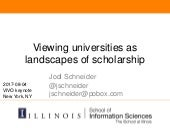 Viewing universities as landscapes of scholarship, VIVO keynote, 2017-08-04