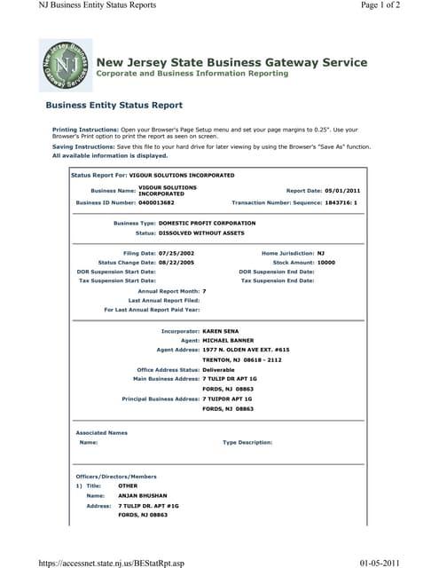 Vigour incorporated-status