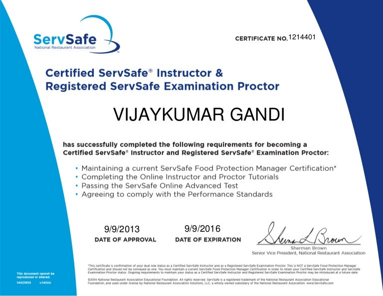 ServSafe Certified Instructor Registered Proctor Sep 2016