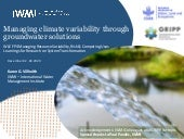 Managing climate variability through groundwater solutions