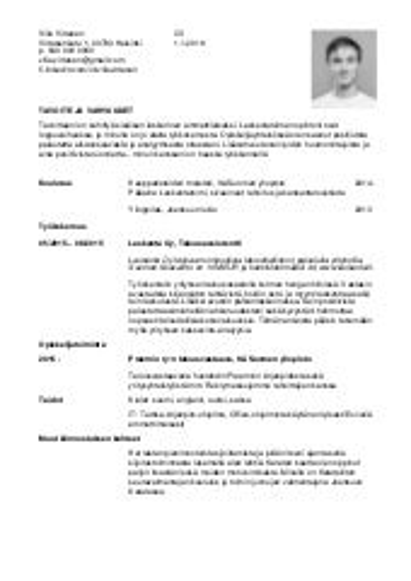 curriculum vitae teko-ohjeet
