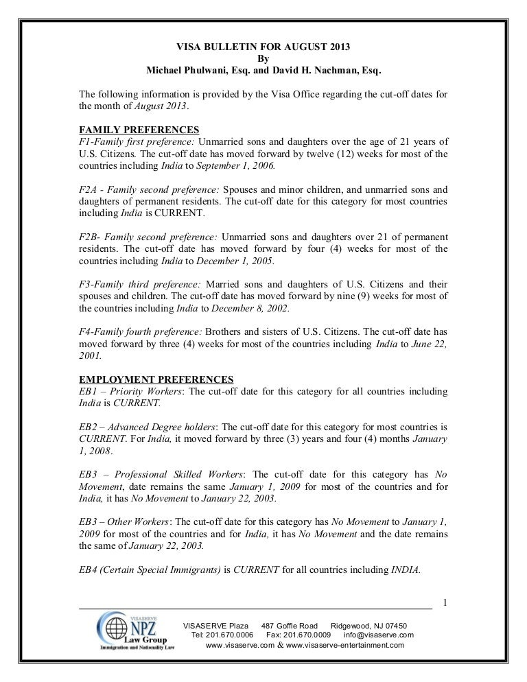 Visa bulletin for august 2013 and Article
