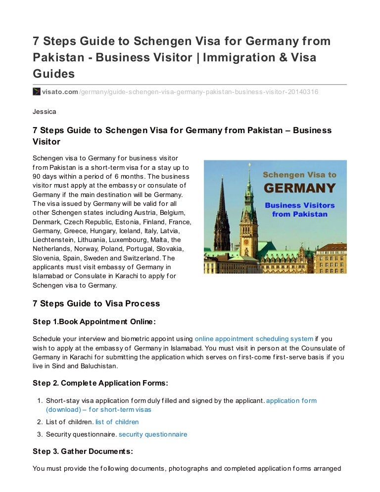 7 Steps Guide to Schengen Visa for Germany from Pakistan – Business V…