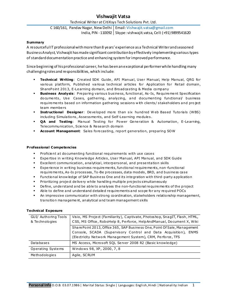 Professional Resume for Experienced Business Analyst, Technical Writer