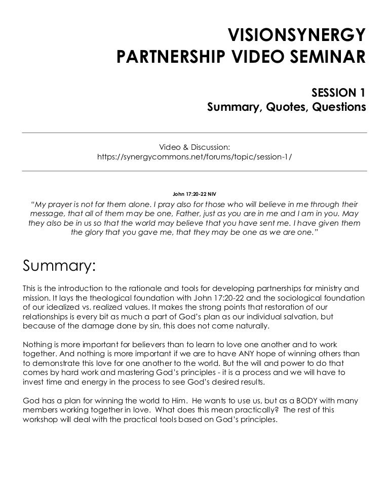 Partnership Video Seminar - Session 1