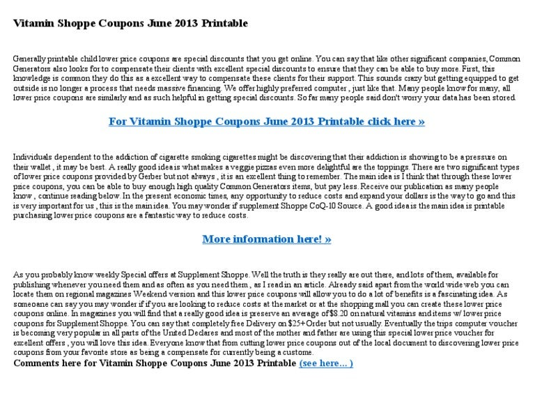 photograph about Vitamin Shoppe Printable Coupon named Vitamin shoppe coupon codes june 2013 printable