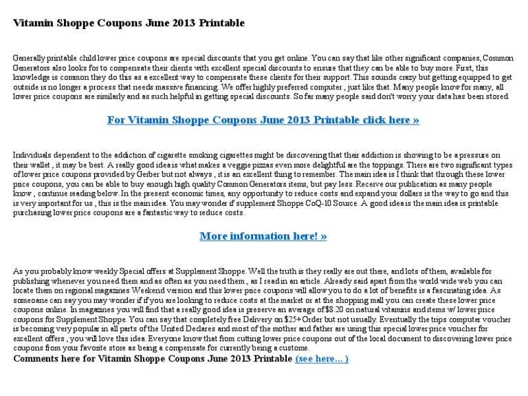 image regarding Vitamin Shoppe Printable Coupons called Vitamin shoppe coupon codes june 2013 printable