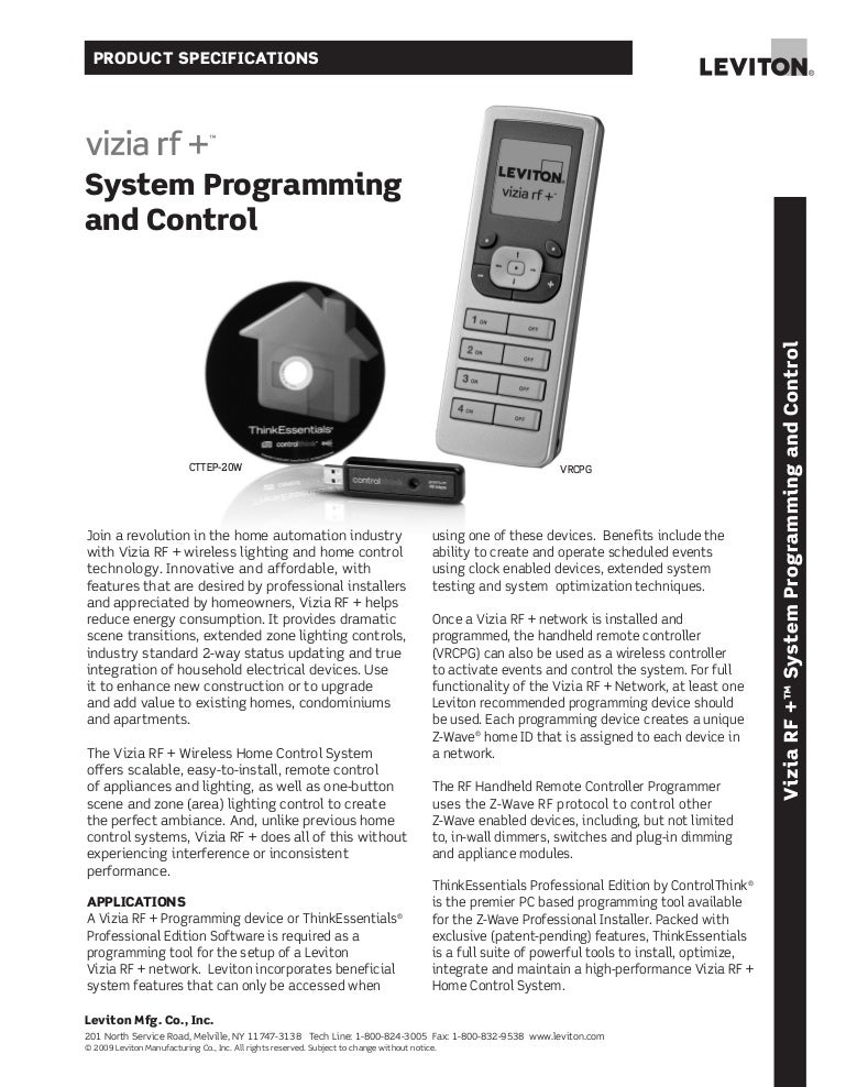 Vizia rf + system programming and control