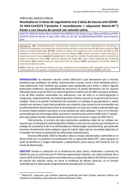 Vn eca vacuna covid 19 [nvx-co v2373 novavax vs pl]