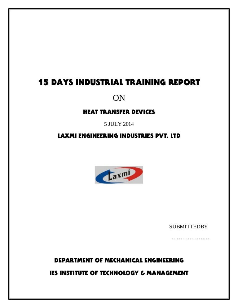 Vocational Training Report Format