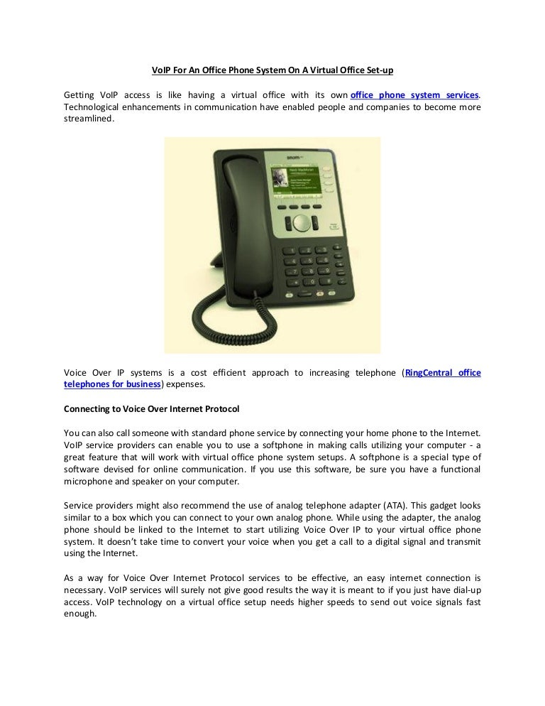 VoIP For An Office Phone System On A Virtual Office Set-up