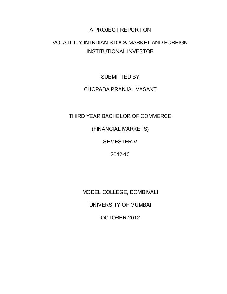 volatility in indian stock market pdf