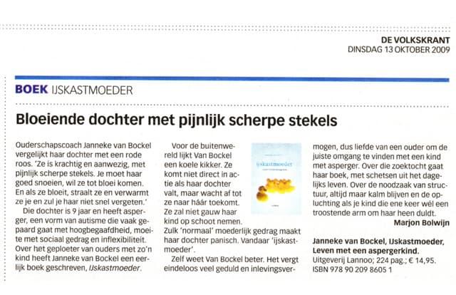 Bloeiende dochter met pijnlijk scherpe stekels   recensie in Volkskrant Katern Jong