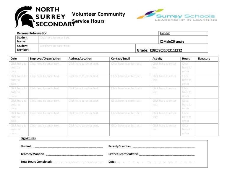 volunteer hours log sheet