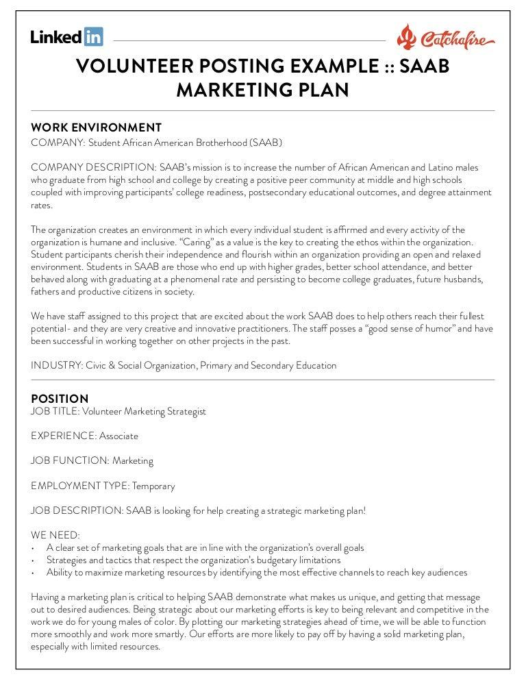 Volunteer marketing strategist posting example