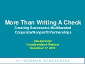 More Than Writing A Check! Creating Successful, Multifaceted Corporate/Nonprofit Partnerships