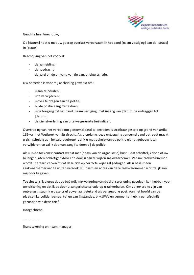 voorbeeldbrief aan gemeente Voorbeeldbrief pandverbod agressieve klanten voorbeeldbrief aan gemeente