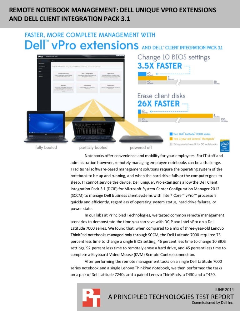 Remote notebook management: Dell unique vPro extensions and