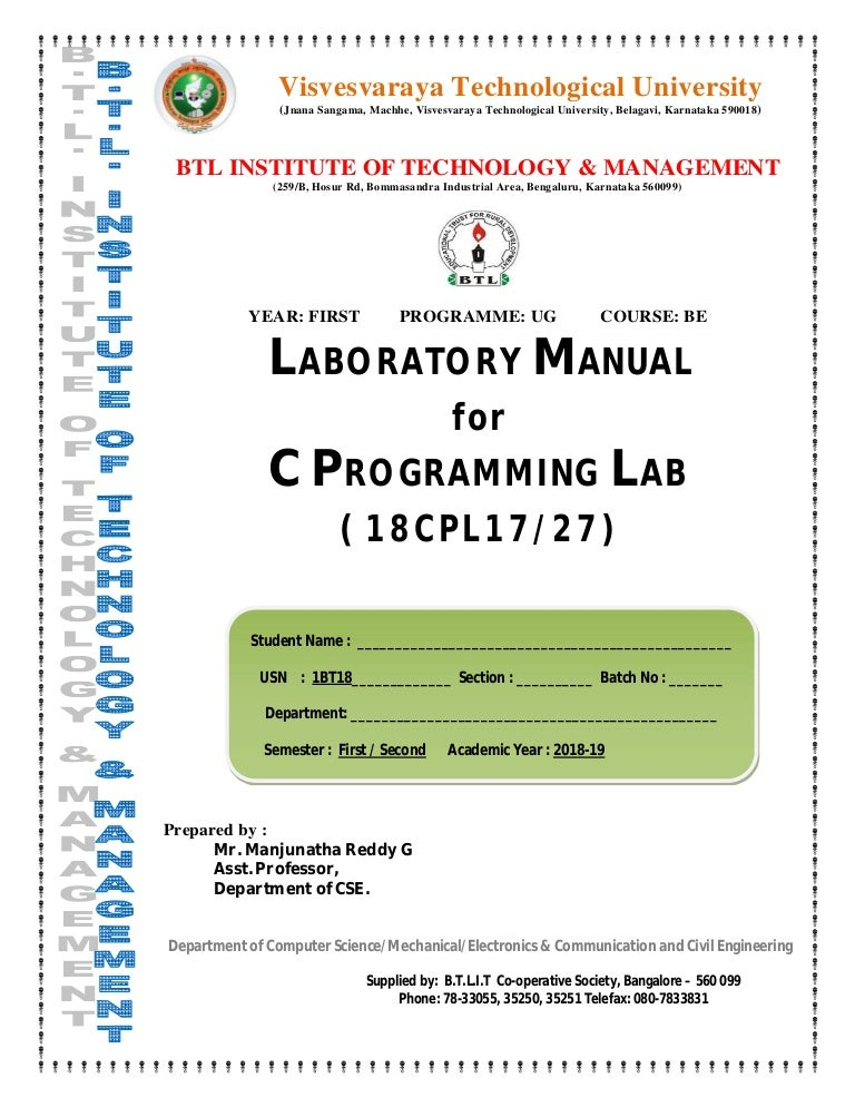 C Programming Lab manual 18CPL17