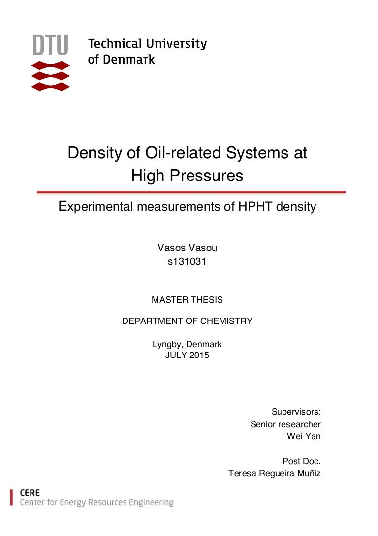 Master thesis density of oil related systems at high pressures exp biocorpaavc
