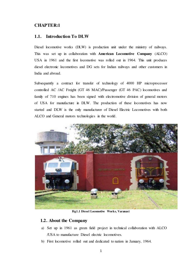 Summer Training Reportdiesel Locomotive Worksvaranasidlw Business Industrial Gt Electrical Test Equipment Motors