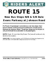 VVTA ROUTE 15: New Bus Stops N/B & S/B Dale Evans Parkway at Johnson Road