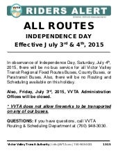 VVTA & BAT Services Not Available July 4 in Observance of Independence Day Holiday