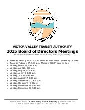 2015 VVTA Board of Directors Meeting Schedule