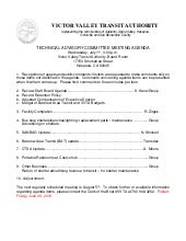 VVTA Technical Advisory Committee Meeting Agenda - July 1, 2015