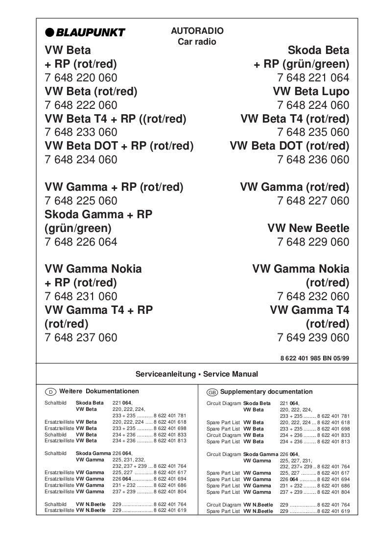 Blaupunkt Werke Gmbh Wiring Diagram Volkswagen Beta Radio Vw 6 Gamma Obsluga I Schematy Longines