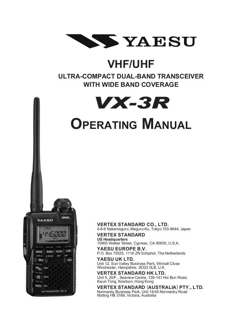 Vx 3 R Operating Manual
