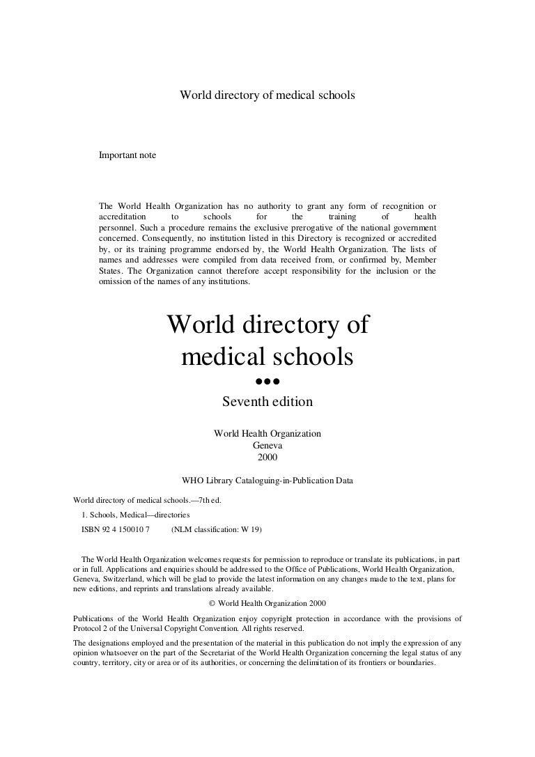 W H O Medical Schools
