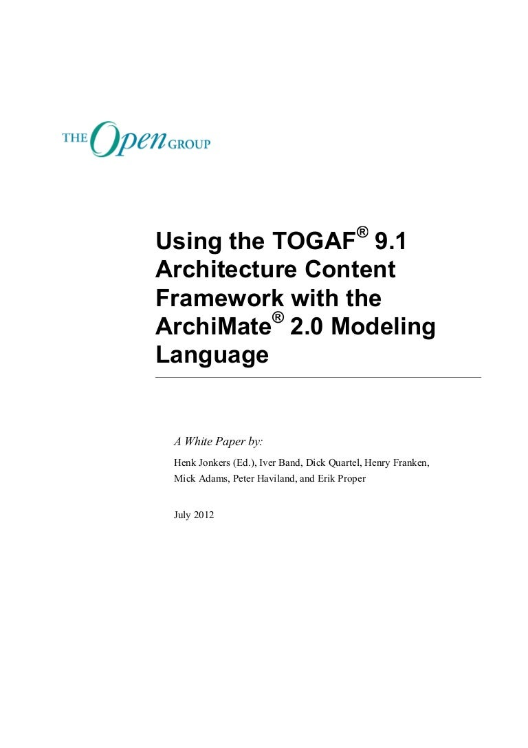 Using the togaf 91 architecture content framework with the archimat xflitez Gallery