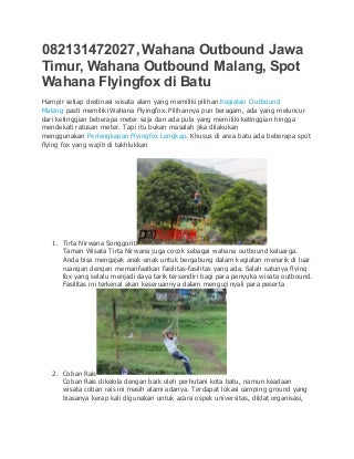 Wahana Outbound di Jawa Timur, 0821 3147 2027 , www.alat-outbound.com