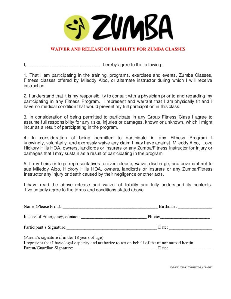waiver of liability for zumba classes at hickory hills. Black Bedroom Furniture Sets. Home Design Ideas