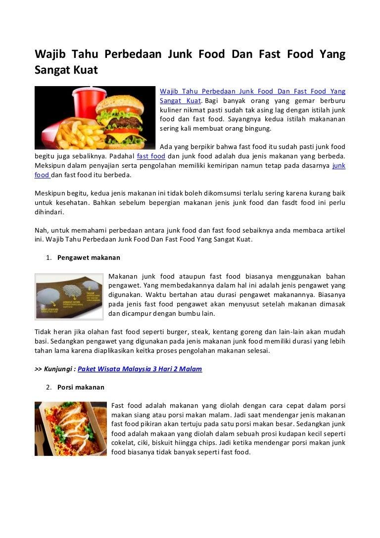 Wajib Tahu Perbedaan Junk Food Dan Fast Food Yang Sangat Kuat