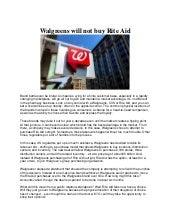 Walgreens will not buy rite aid