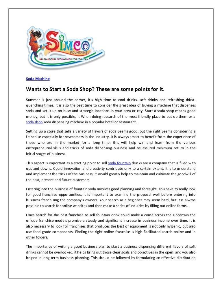 soda shop business plan