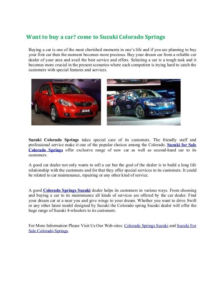 Car Dealerships Colorado Springs >> Want To Buy A Car Come To Suzuki Colorado Springs