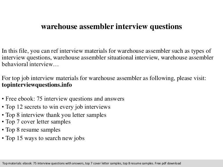 warehouse assembler interview questions