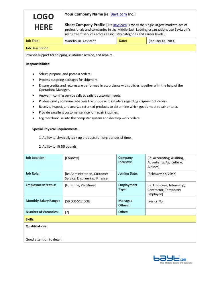 warehouse assistant job description template by baytcom - Food Preparer Job Description